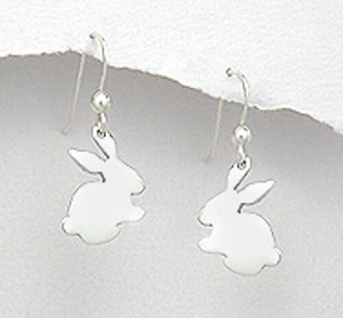 """1.22/"""" Solid Sterling Silver Cute Bunny Dangle Earrings 2.6g ADORABLE"""