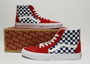 f66ae16a14a6 Image is loading Vans-SK8-Hi-BMX-Checkerboard-True-Blue-Red-