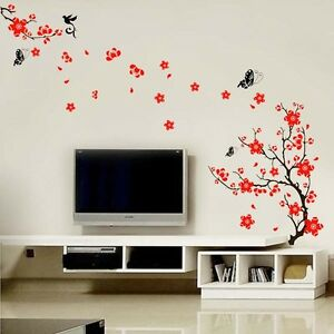 Blossom-Flower-Transparent-RED-Wall-Stickers-Mural-Decal-Self-Adhesive-Wallpaper