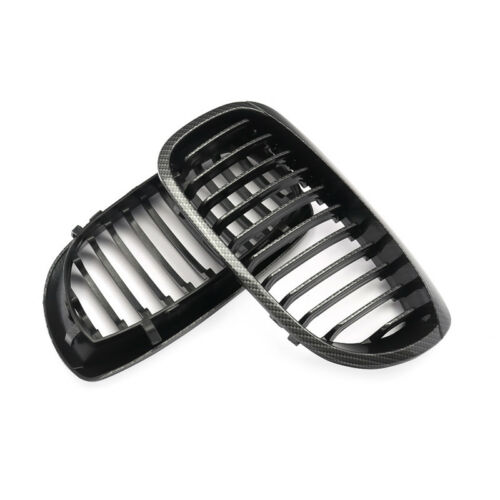 Pair Carbon Fiber Look Front Kidney Grill Grille for BMW 3Series E46 Coupe 03-05