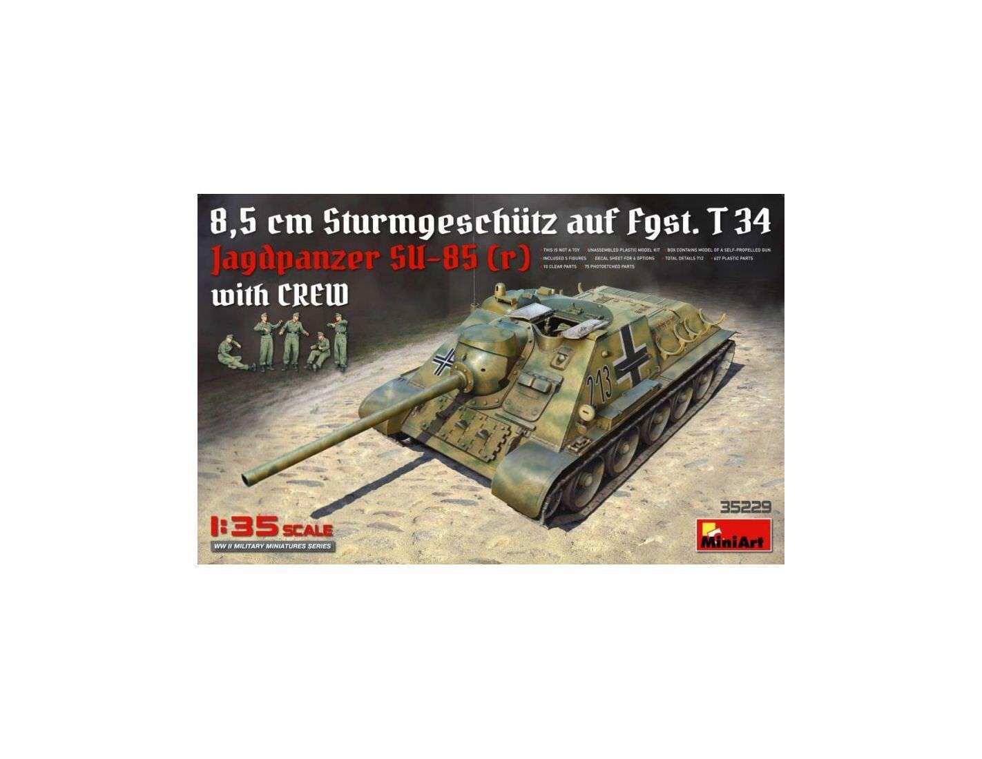 Miniart MIN35229 JAGDPANZER SU-85 (R) W CREW KIT 1 35 Modellino