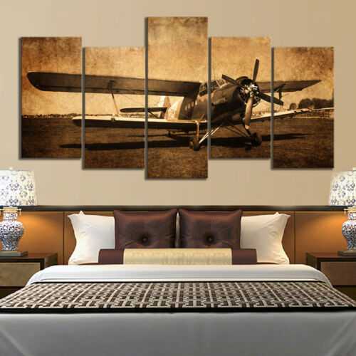 Vintage Aircraft Old Plane 5 Pieces canvas Wall Art Poster Picture Home Decor