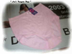 WOMEN'S-COMFORTABLE-LACE TRIM-COTTON RIBBED-FULL BRIEF-SIZE 10-12-PINK-BNWT