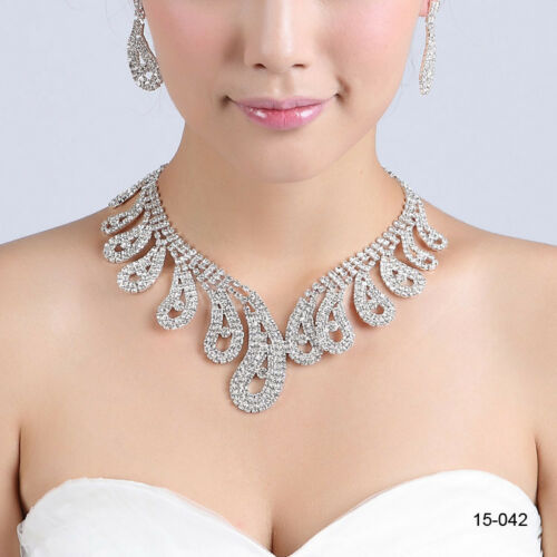 Bridal Crystal Rhinestone Necklace Earrings Jewelry Set Wedding Formal New Bling