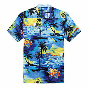 Plus-Size-4X-5X-6X-Men-Hawaiian-Shirt-Luau-Aloha-Cruise-Sunset-Blue-Scenic