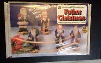 Wee Crafts Father Christmas 3-d Style Pre-cast Set Five Santa Paintable Santa