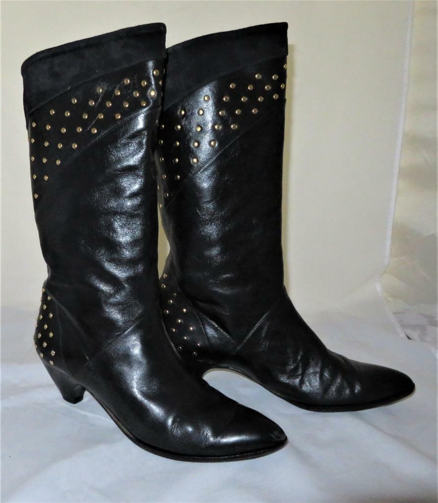 Phyllis Poland nero Leather & Suede Mid-Calf oro Studded stivali, Dimensione 9 1 2 B