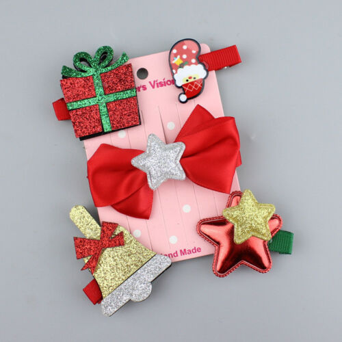 5Pcs//set Girls Cartoon Christmas Gifts Hair Accessories Set Hair Clips Newly