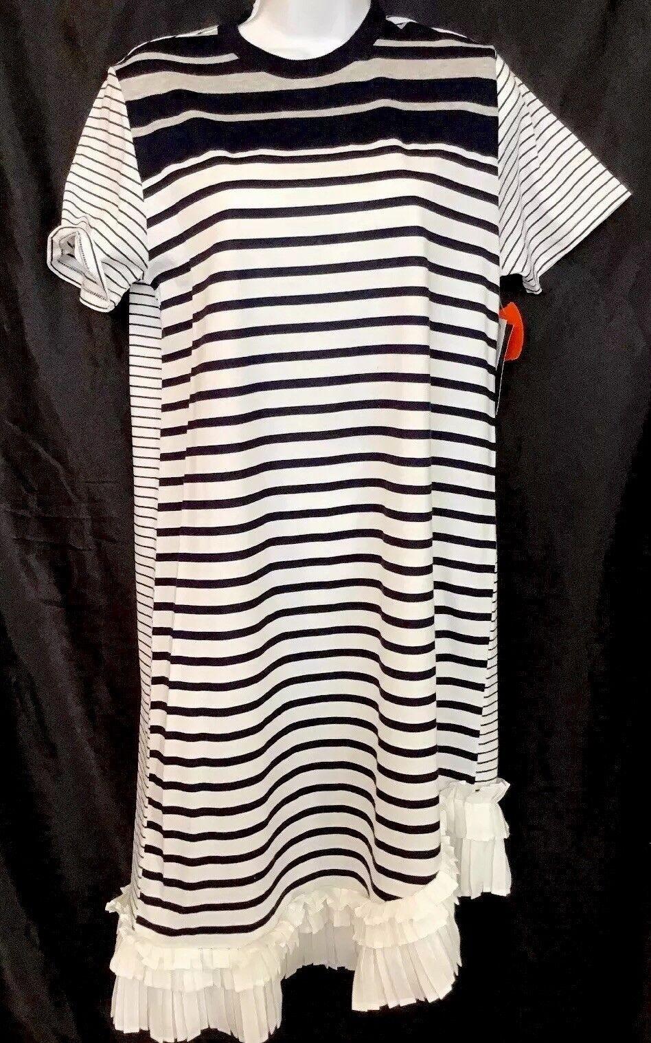 Clu Maille Dress Navy WhIte Shortsleeve Cotton Pleated Ruffle Hem Nwt Size Xs