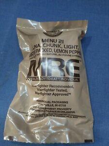 Individual US MRE Meal Ready to Eat - Menu 21 Tuna Chunk Light Water Packed Lemo