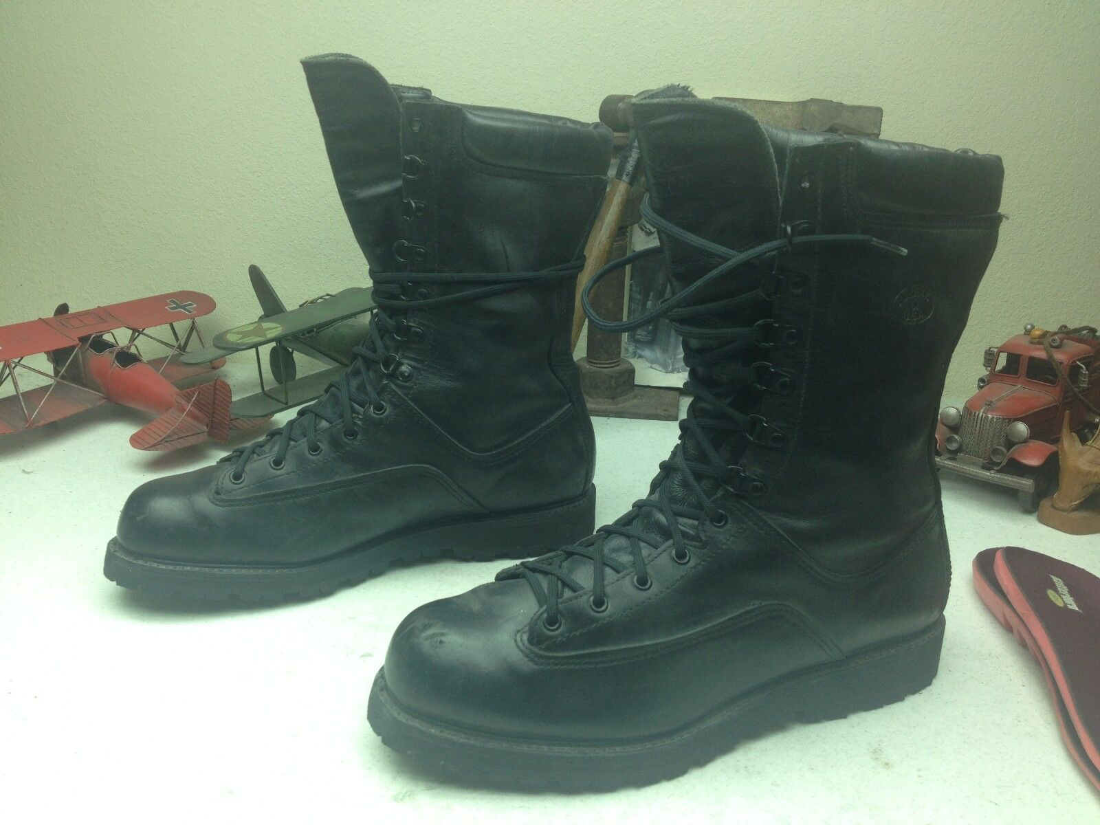 MATTERHORN MILITARY USA schwarz schwarz schwarz LEATHER LACE UP ENGINEER BOSS ARMY Stiefel 12.5 W fb9085