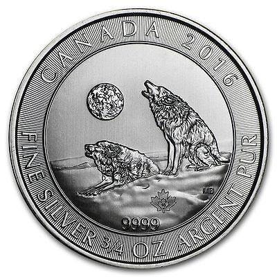 2016 Canada $2 3//4 oz Howling Wolves Wolf  Fine Silver Bullion Coin 9999