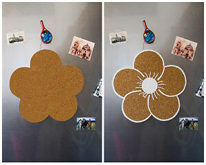 """""""Flower"""" Cork Memo Notice Board message home office wall pinboard, 7 pins"""