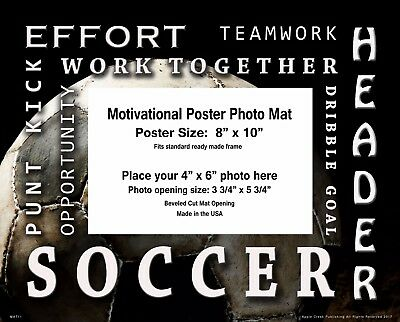 Soccer  Motivational Poster Photo Mat 8x10 Art Kids Youth Socks Shoes Ball MAT11