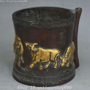 12CM Marked China Bronze Gilt 5 Cattle Bull Oxen Pen Holder Brush Pot Statue