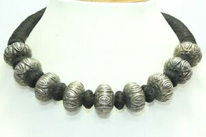 Black thread wax inside beads Vintage necklace 925  sterling silver Round bead