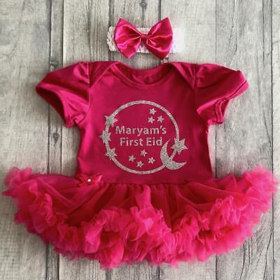 Frugale Argento Personalizzato Prima Eid Baby Girl's Tutu Romper Vestito Neonato Regalo Ramadan-