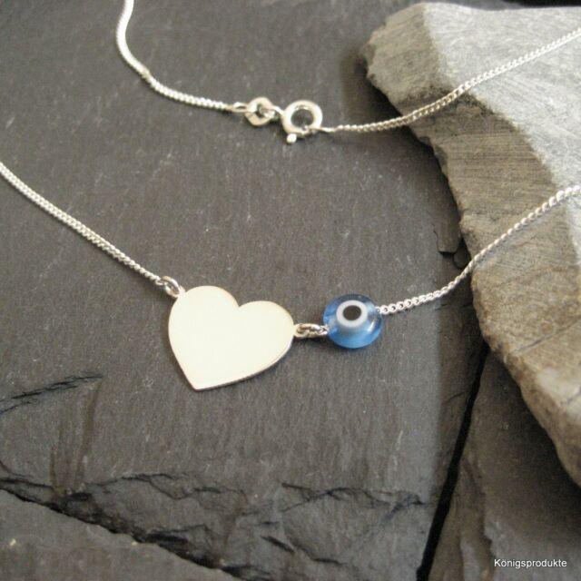 Halskette mit Herz & Glücksauge in 925er Silber, 44 cm, Nazar, NEU