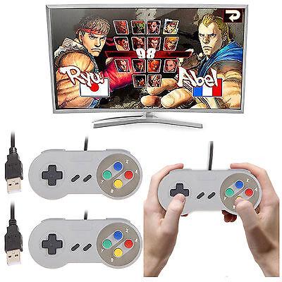 2 x SNES USB Controller For PC/Mac Super Nintendo Games Retro Classic Gamepad US
