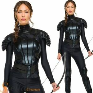 Katniss everdeen costume hunger games rebel ladies fancy dress image is loading katniss everdeen costume hunger games rebel ladies fancy solutioingenieria Image collections
