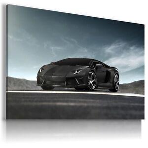 LAMBORGHINI AVENTADOR BLACK Sports Car Wall Art Canvas Picture AU493  MATAGA