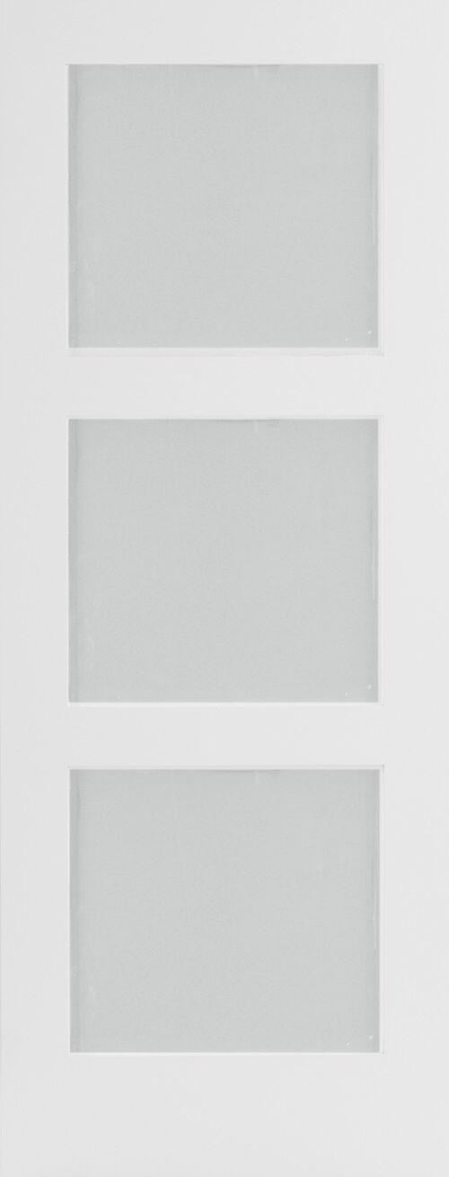 Primed 3 Panel Equal Frosted Glass Mission Shaker Interior Doors Wood Door Slabs