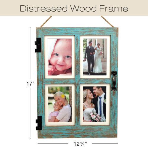 Vintage Farmhouse Window Photo Frame Holds Four 4x6 or 5x7 Photos