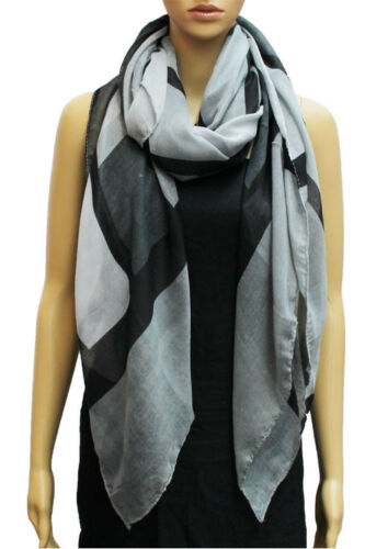 Spring Fall Summer Scarf Light Wrap Long Shawl Wide Oversize Abstract Plaid NEW