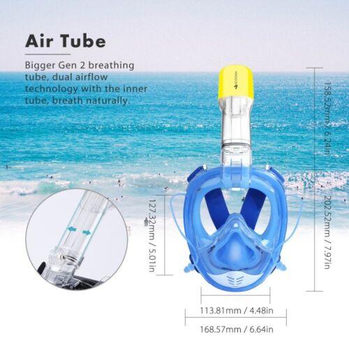 1x Full Face Snorkel Foldable Mask Panoramic View Anti-Leak Anti-Fog Diving Mask