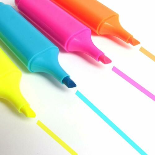 4 Pack Highlighter Pens Assorted Set Colours Yellow Pink Orange Blue Chisel Tips