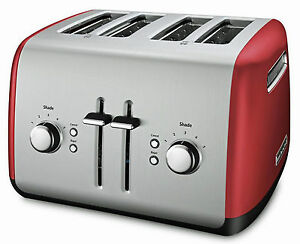 kitchenaid 4 1 2 quot red stainless steel kitchenaid kmt4115er 4 slice stainless steel metal toaster empire red w bagel bt ebay 3776