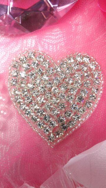 "JB101 Crystal Rhinestone Heart Beaded Applique Silver Beads Valentine Patch 2"""