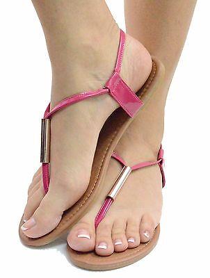 Women's Sandal Gladiator Slingback Flat T-strap Thong Flip Flops Tube Open Toe
