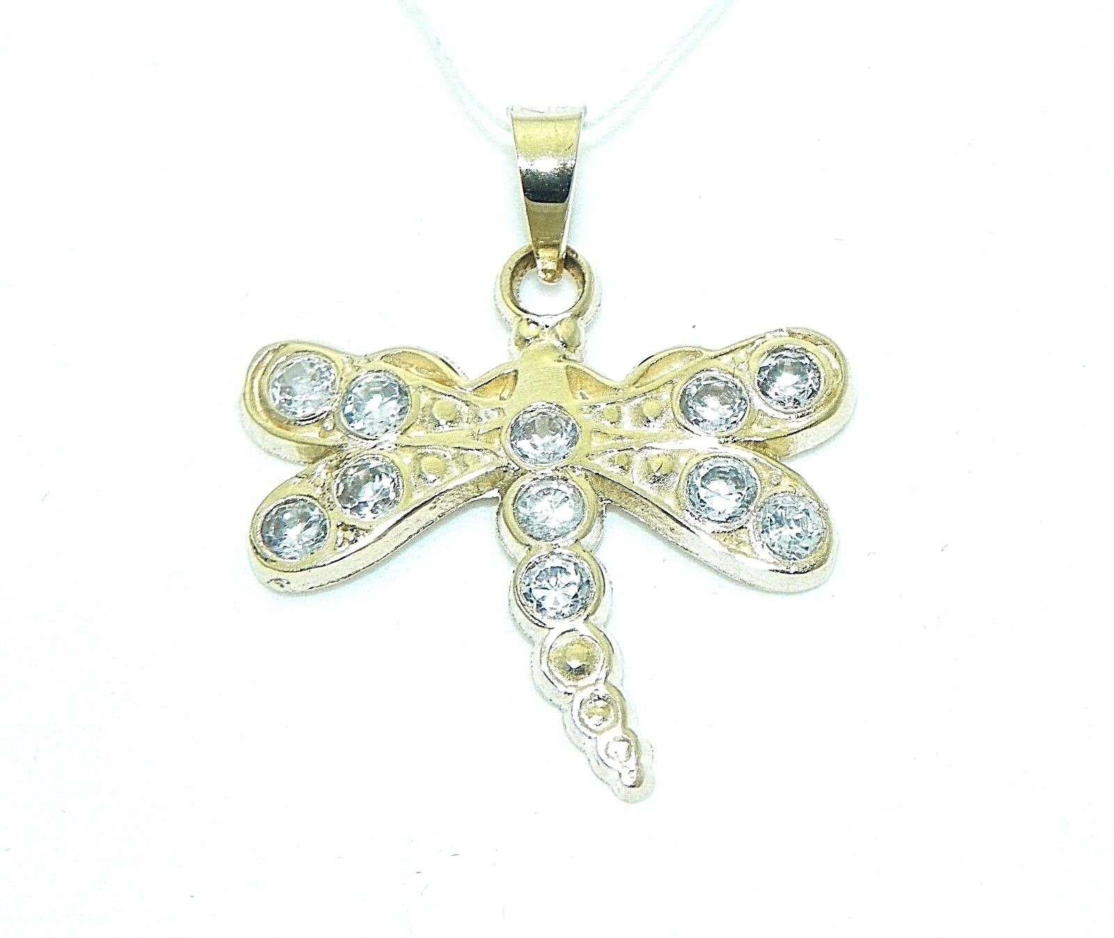 CUBIC ZIRCONIA ACCENTS DRAGONFLY PENDANT REAL SOLID 14 k gold 1.1 g