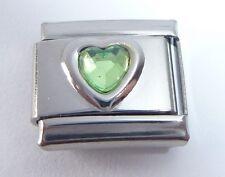 LIGHT GREEN HEART GEM Italian Charm August Birthstone Love 9mm Classic Size Gems