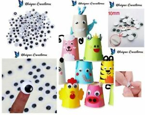 10mm-100pc-Joggle-Movable-Black-Eye-Wiggly-Google-Googly-Eyes-Craft-Stick-On-Art