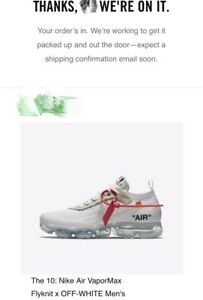 san francisco 87351 c8ab6 Details about Nike Air VaporMax x OFF-WHITE The Ten White (2018) Size 4.5