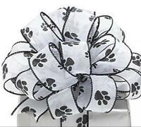 Paw Prints White Sheer Wired Ribbon 9 1.5 X 20 Yds, New, Free Shipping