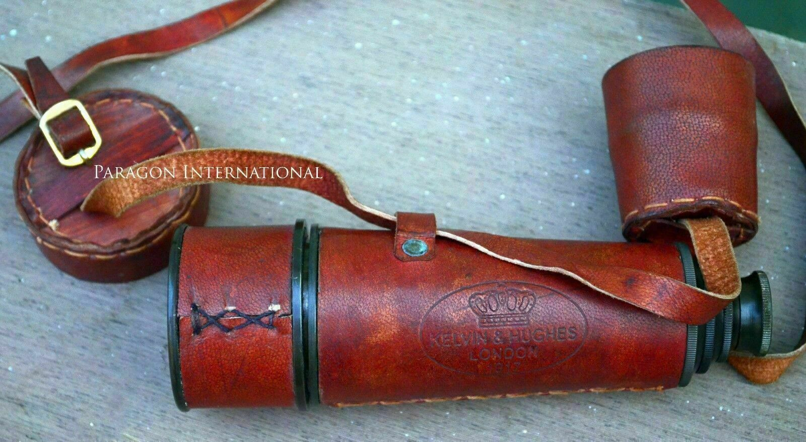 """Vintage Brass Telescope 17/"""" Leather Kelvin And Hughes Collectible Best Man Gift"""