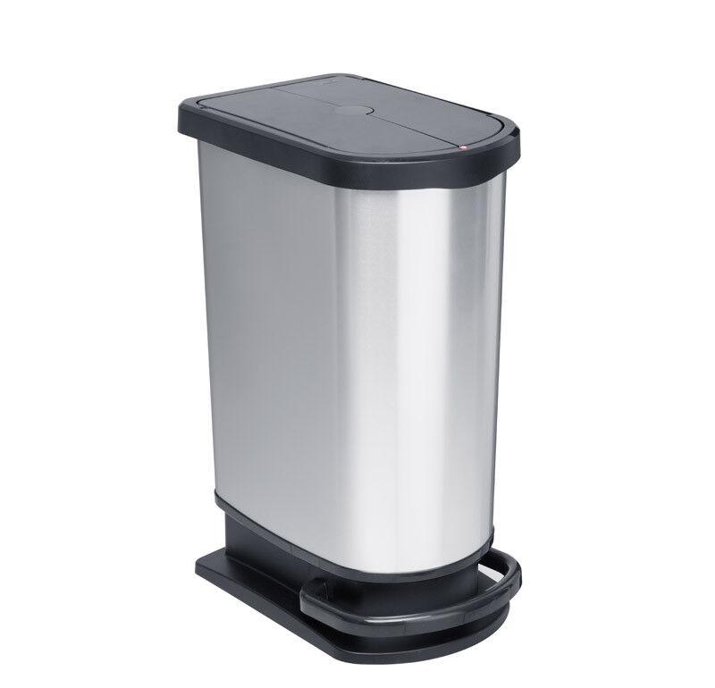 Mülleimer mit Trittfunktion in silber metallic aus Kunststoff 50L geräuschlos  1