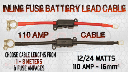 110 AMP BATTERY LEAD CABLE WITH BUILT-IN INLINE MIDI FUSE BOX TRUCK BOAT MARINE