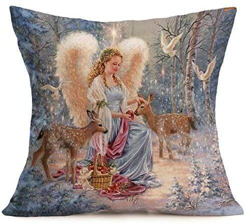 Winter Farm Animal Christmas Angel Snowman Santa Claus Pillow Case Cushion Cover
