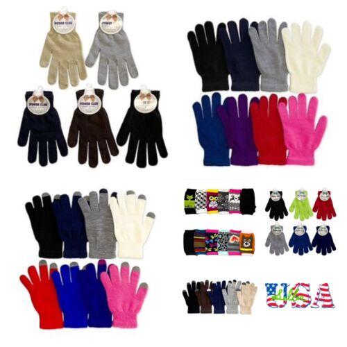 Casual Knit Magic Gloves Touch Screen Plain Winter One Size Basic Men Women Kids