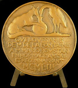 Medal-Mario-Marius-Roustan-homme-politique-the-fox-amp-the-stork-1953-Medal