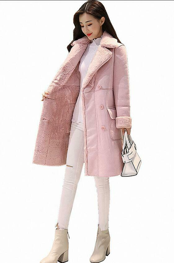 Women's Thicken Parkas Padded Lapel Collar Double Breasted Wool Blend Long Coats