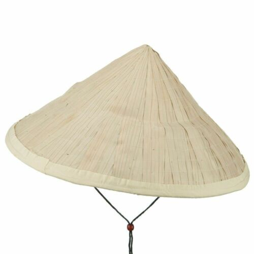 """Large Straw  Asian Bamboo Conical Sun Hat 16/"""" Japanese Vietnam for 2 Pc"""