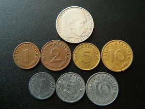 Set-of-Germany-8-coins-2-Reichsmark-1-2-5-10-pfennig-with-Swastika-71