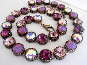 Swarovski Crystal Necklace, Choker,Multicolor Amethyst Filigree Art Deco Tennis
