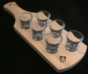 Northumberland Fusiliers Set of 6 Shot Glasses with Wooden Paddle Tray Holder 4nRsEls4-09093321-449959885