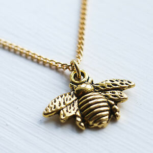 739f6588cc614 Details about Gold Bumble Bee Necklace Bumblebee Charm Pendant Jewellery  Ladies Emma Lou